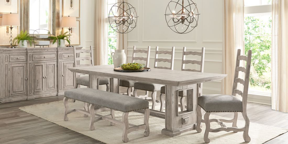 Cindy Crawford Home Pine Manor Gray 6 Pc 102 In Dining Room Dining Room Sets Home Dining Table Dimensions