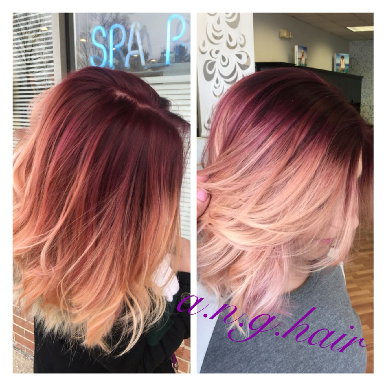 Violet base with rose gold mid shaft and balayage blonde throughout