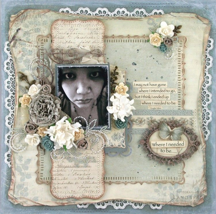 Where I Needed to Be ~ Shabby Chic page with rolled and distressed lace trimmed edges.