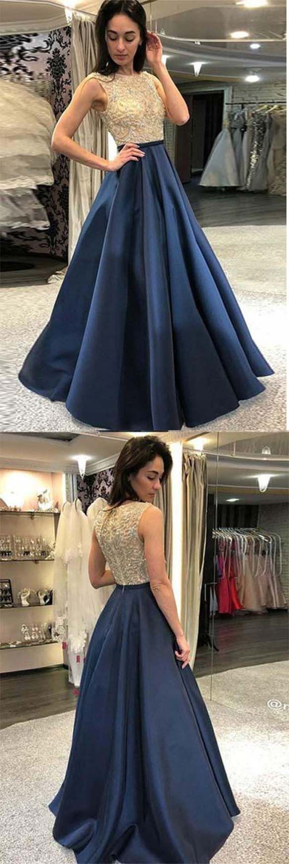 Elegant prom dressesnavy blue prom dresses with beadingfashion