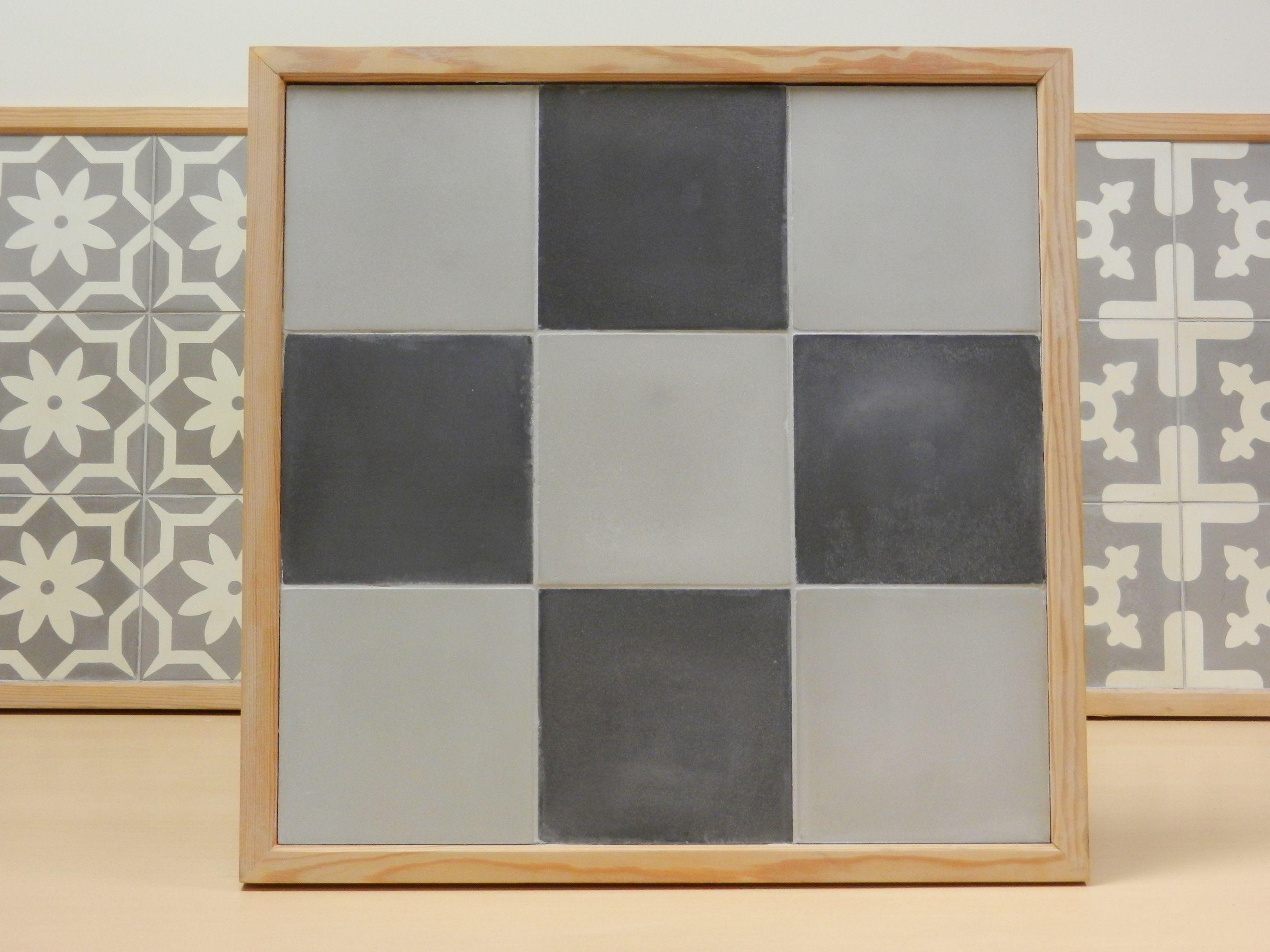 Handmade encaustic tiles, 15x15 cm format. 1517 Black / 1520 Light Grey. Brochure available.