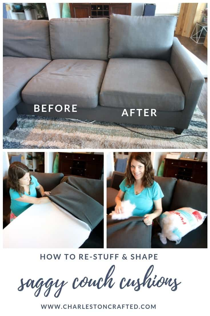 How To Stuff Sofa Cushions Give New Life To A Saggy Couch Diy Couch Cushions Cushions On Sofa Diy Couch
