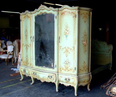 Painted Antique Wardrobe Vintage Armoire