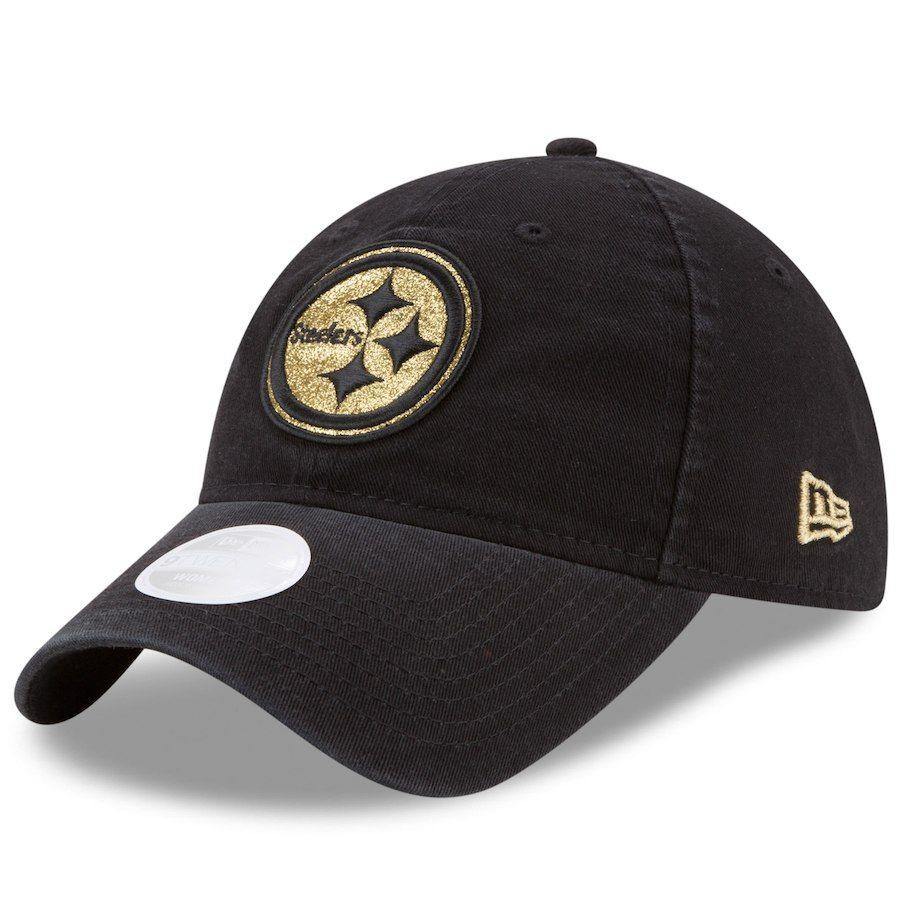 Women s Pittsburgh Steelers New Era Black Team Glisten 9TWENTY Adjustable  Hat b16df3a17