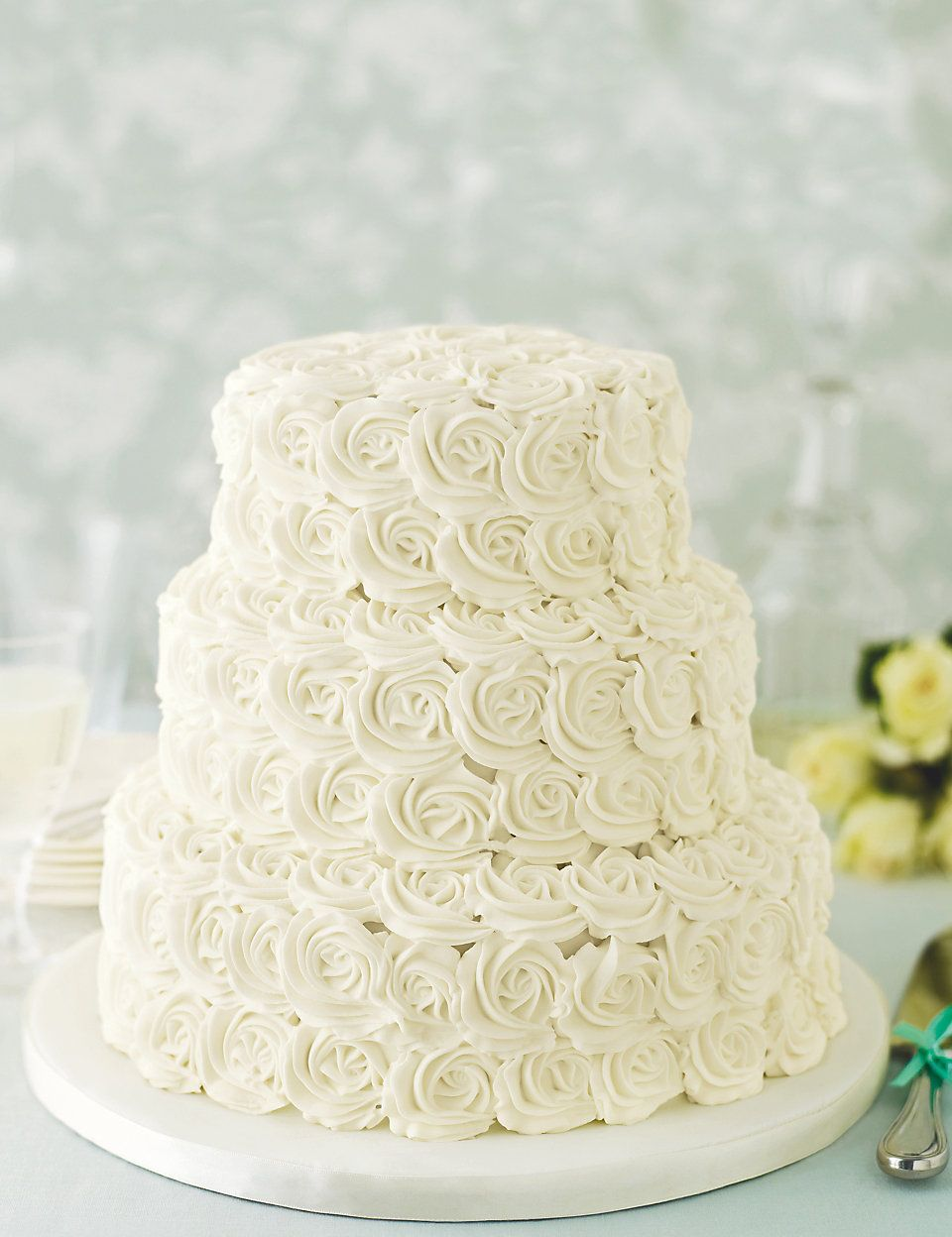 Rose Sponge Wedding Cake | M&S | BEAUTIFUL CAKES | Pinterest ...