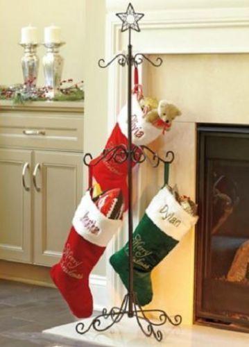 Christmas Tree Stocking Holder.Metal Scroll Christmas Tree Stocking Holder Tree Stand In Black Or
