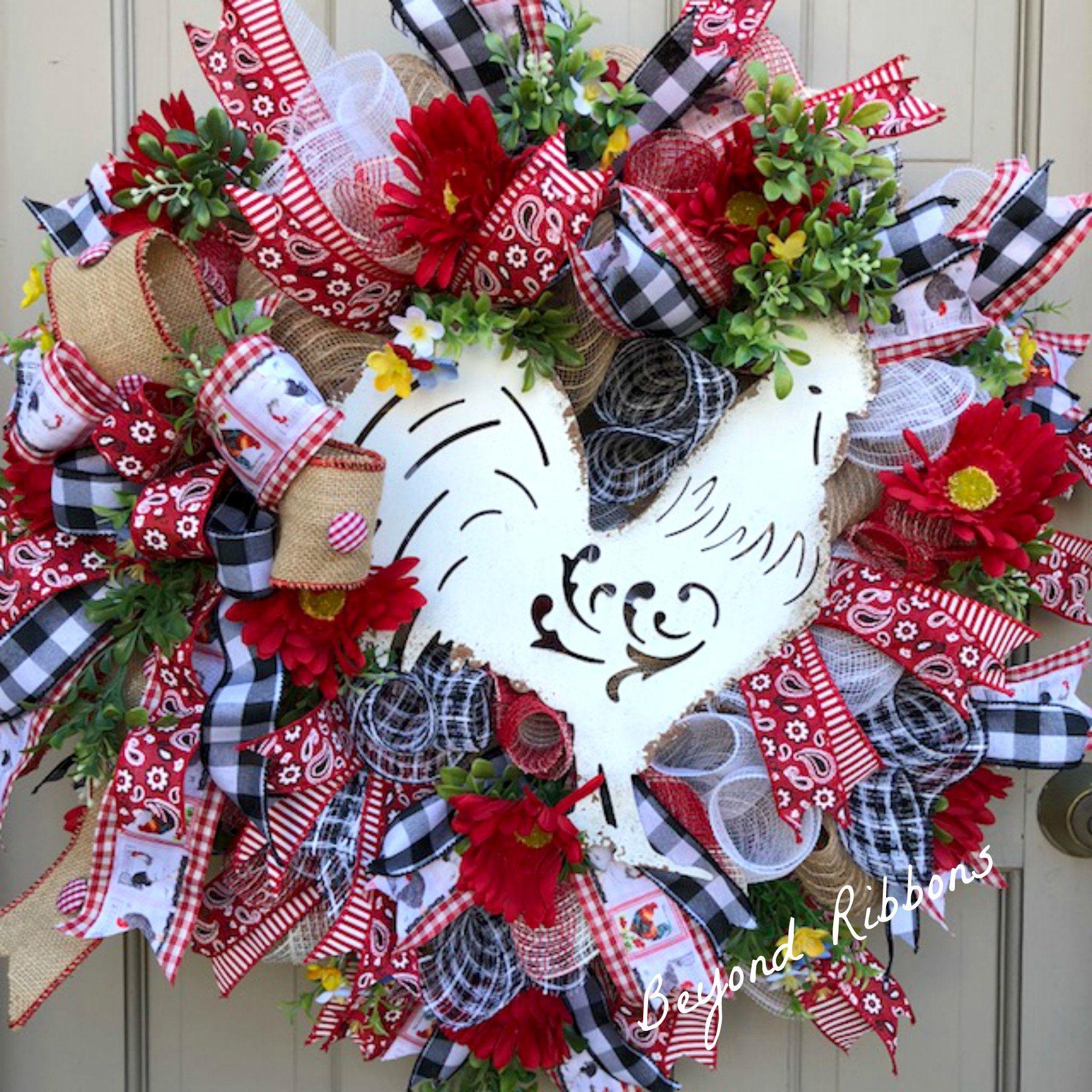 Farmhouse rooster wreath deco mesh wreath rustic decor