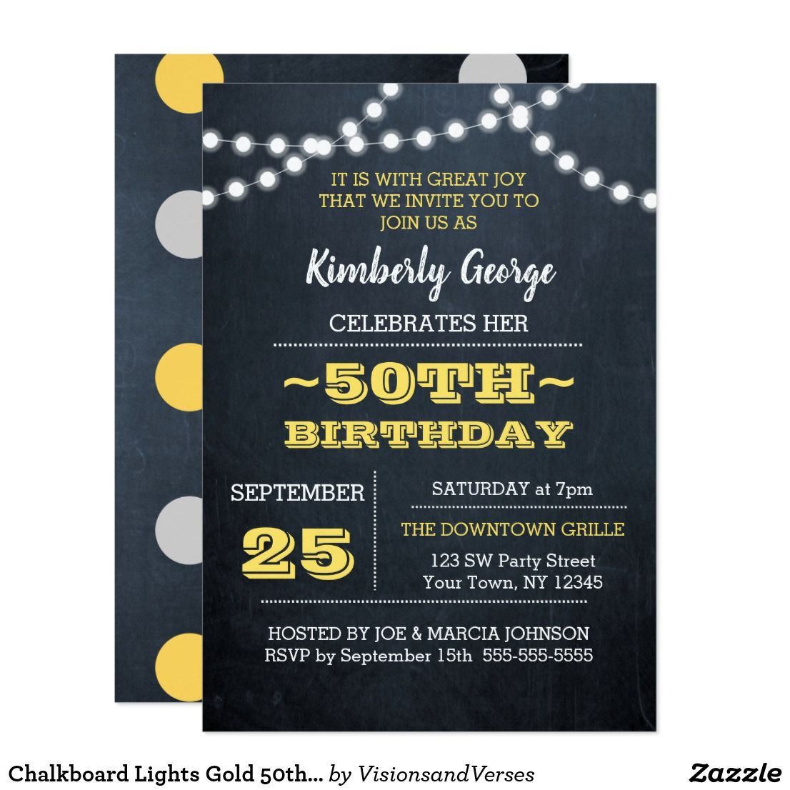 Chalkboard lights gold 50th birthday invitation chalkboard lights gold 50th birthday invitation with a chalkboard and string lights background these invitations stopboris Choice Image