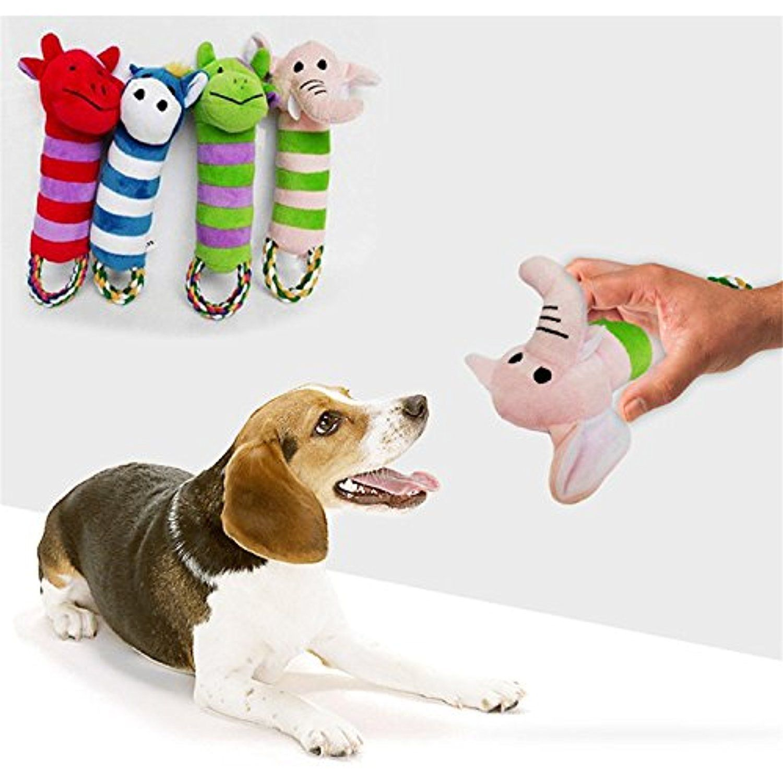 Pet Dog Cat Strip Squeaky Chew Toys Dog Plush Chew Toys Random