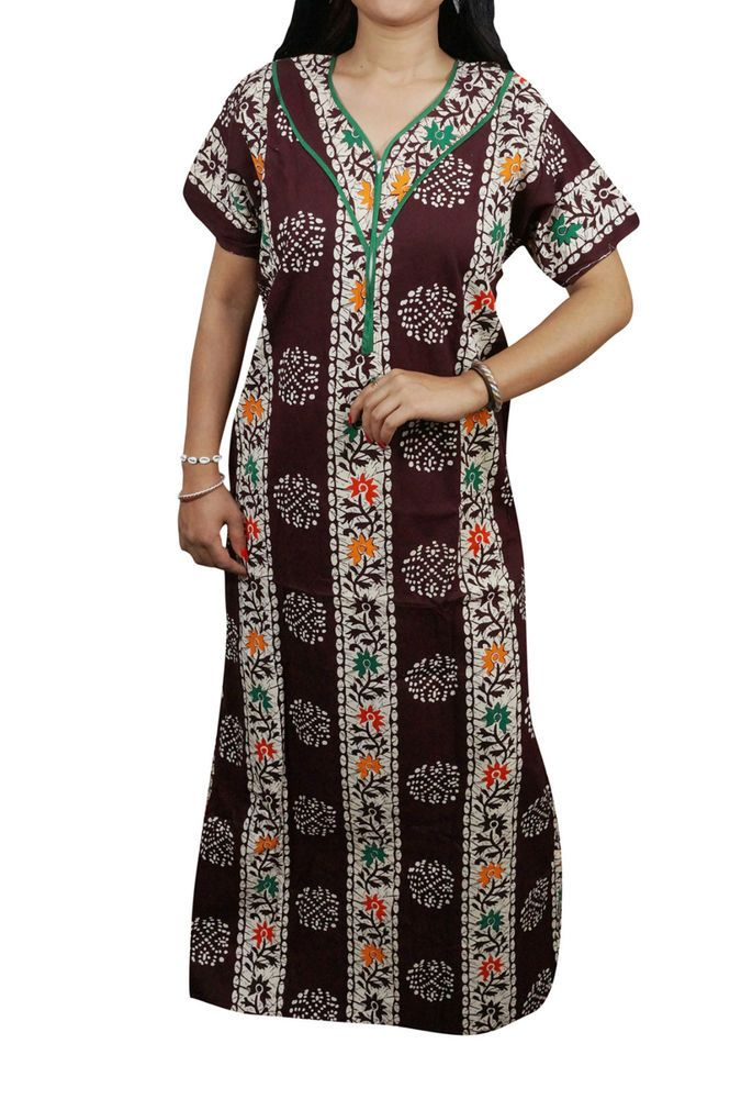 Indiatrendzs Women Nighty Cotton Nightwear Maroon Summer Maxi Night Gown  44