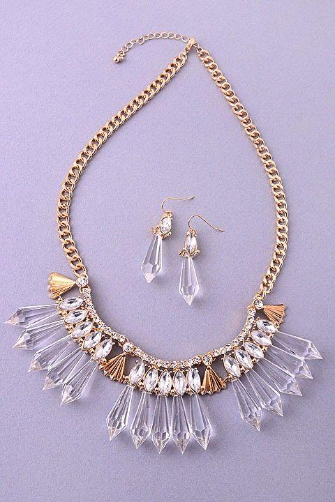 Crystal Spike Statement Necklace Set