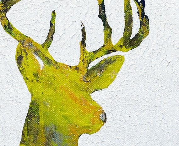 Yellow Deer Original Canvas Art Painting Acrylic by ElfShoppe