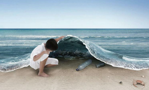 I found this quite a powerful image - instead of being provided facts about pollution, we get to look under the ocean for ourselves and see what is actually mas