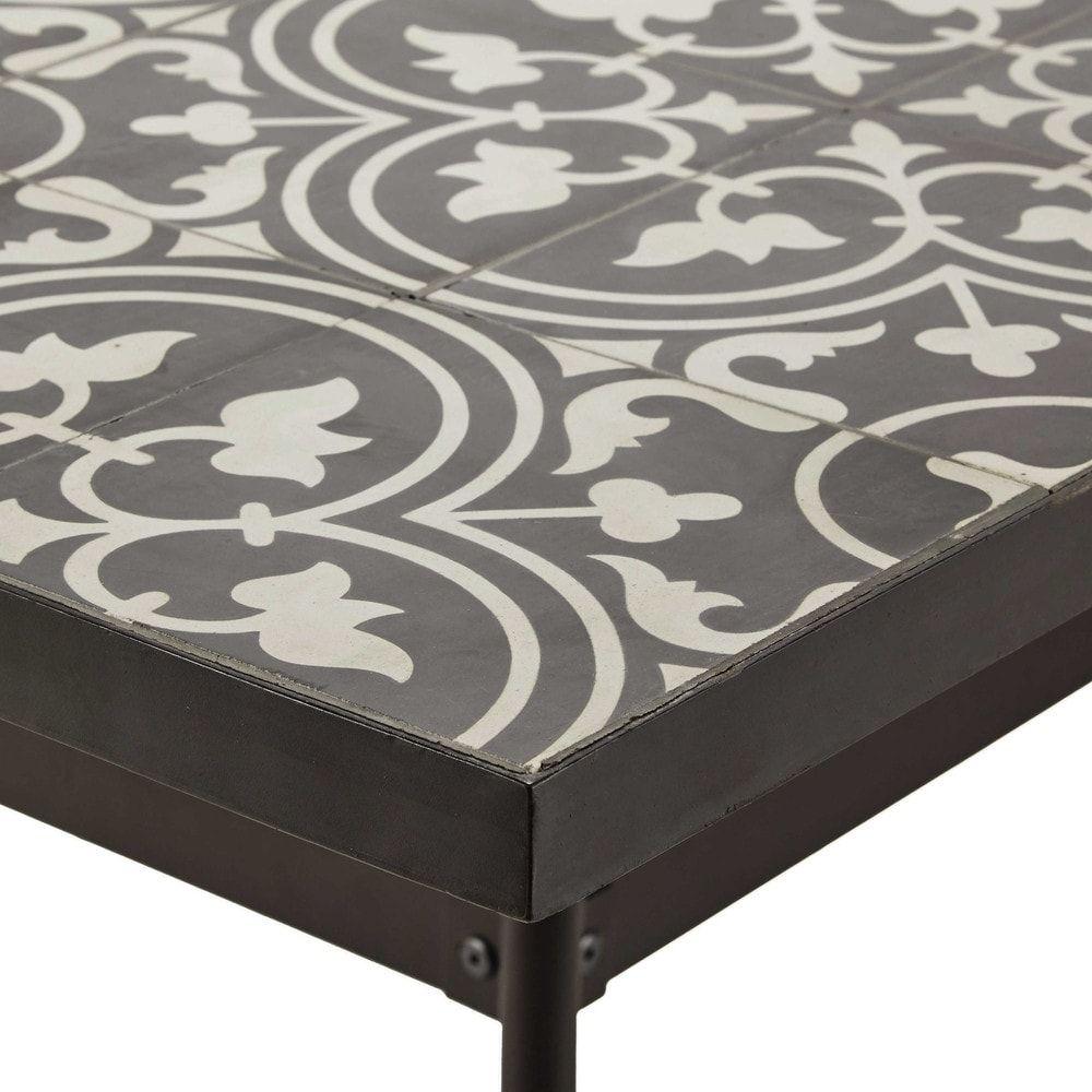 table manger en m tal et carreaux de ciment 6 8 personnes l200 jardin carreau table. Black Bedroom Furniture Sets. Home Design Ideas