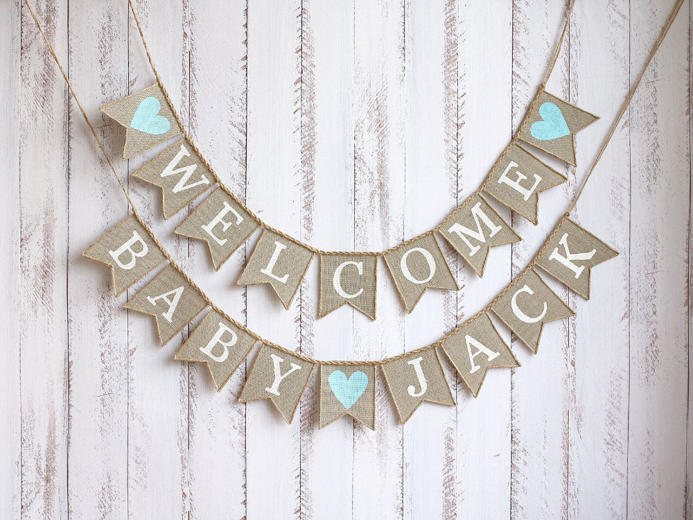 Welcome Baby Banner Welcome Baby Sign Baby Bunting Baby Garland Baby Shower Decor Custom Baby Banner Personalized Shower Decor