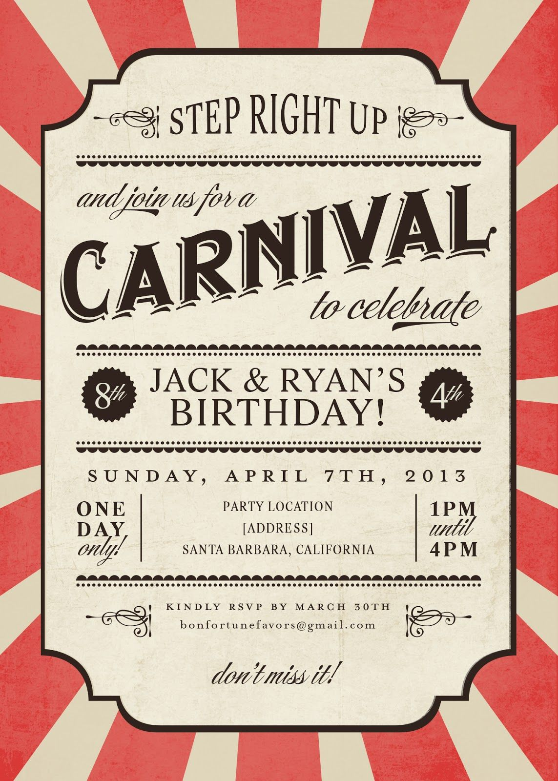 Vintage Carnival Border Carnival party – Free Printable Circus Birthday Invitations