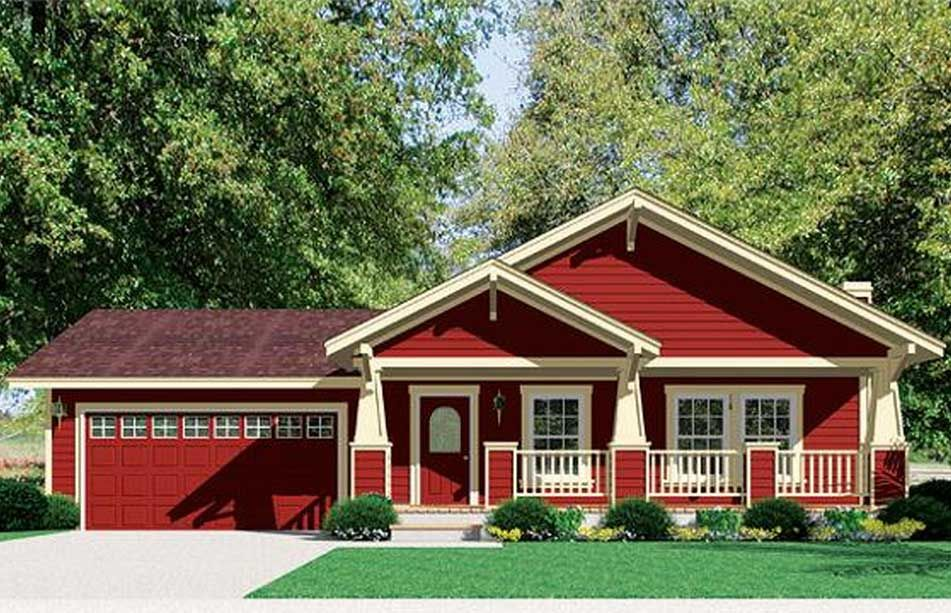 Craftsman style modular homes with red and cream wall paint color combine dark red roof tile