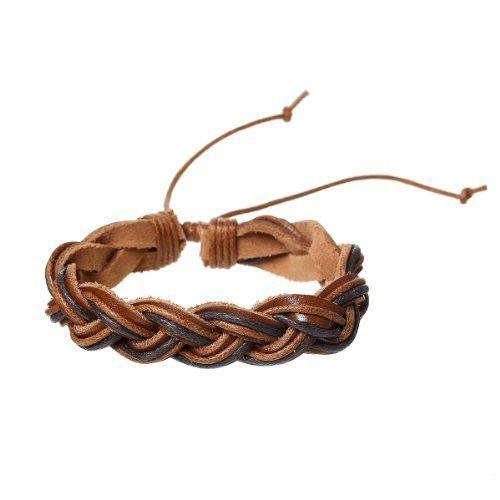 Coffee Cowhide Rope Braided Bracelet