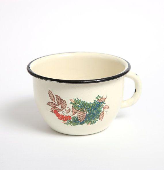 Vintage blanco esmalte taza de camping, decoración cocina ...