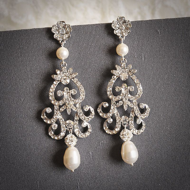 Pearl Chandelier Earrings Wedding TopEarrings – Pearl Chandelier Bridal Earrings