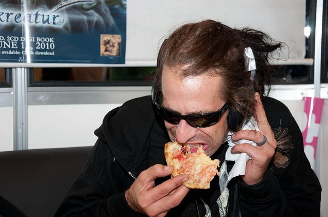 Randy with pizza