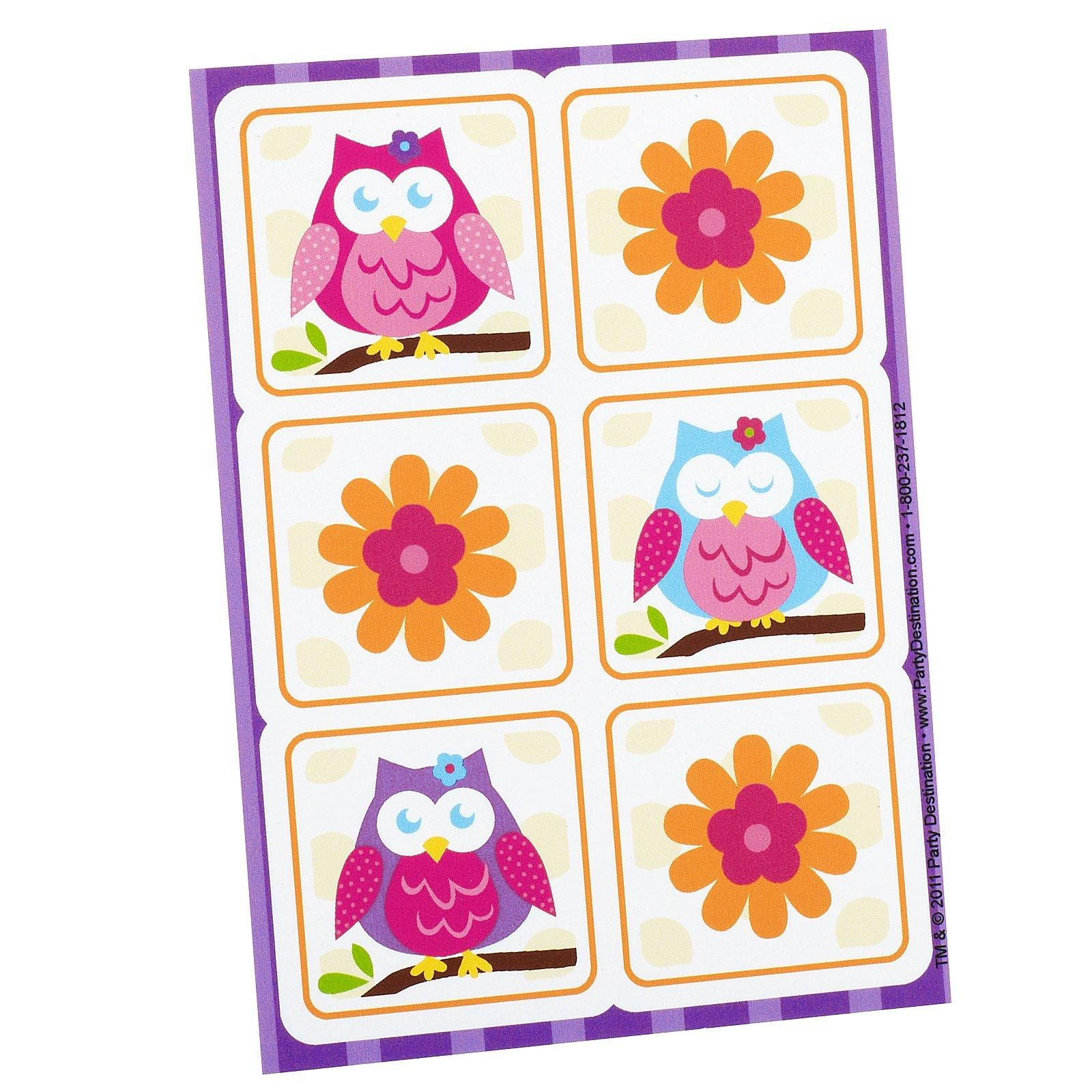Owl Blossom Sticker Sheets from BirthdayExpress.com