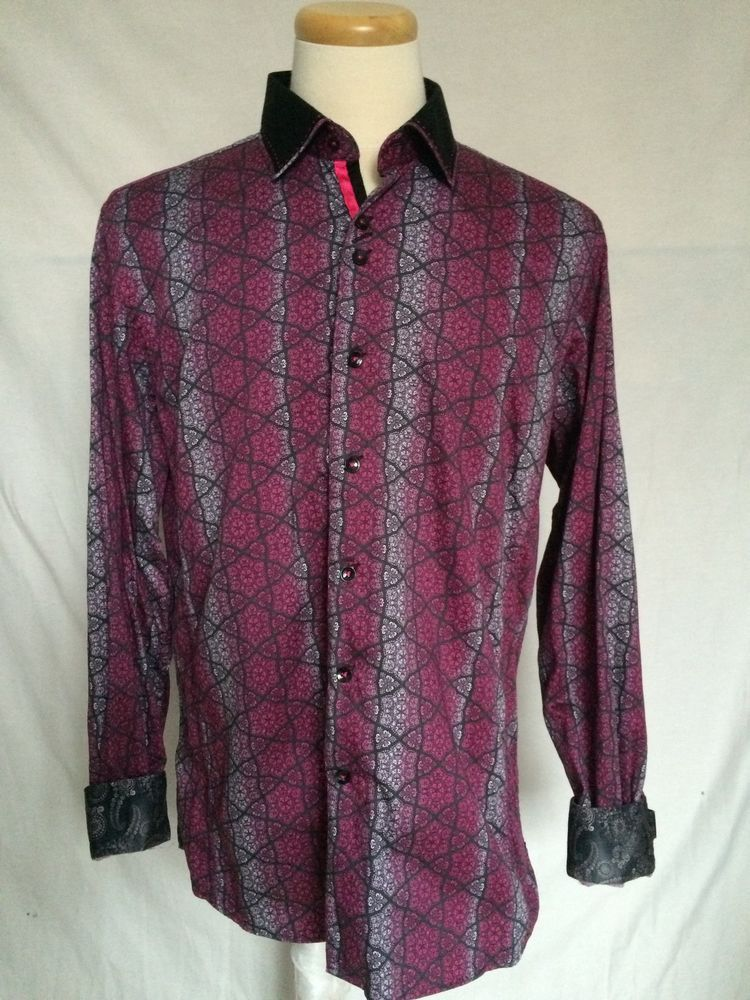Au Noir Shirt Sz 5 XL Dark Pink Black Long Sleeves Leather Cufflinks Mens | eBay