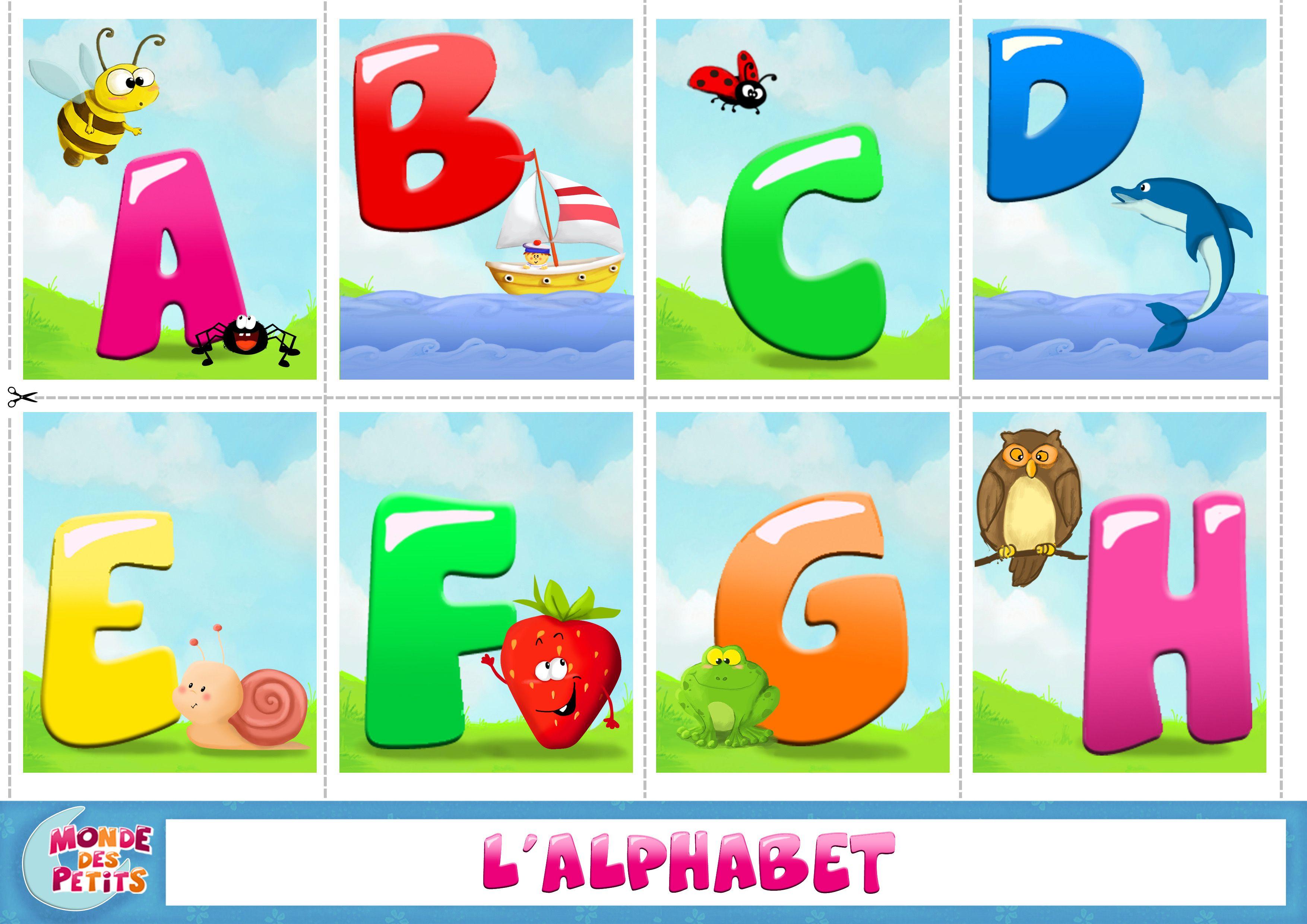 Carte imprimer apprendre l 39 alphabet vers la lecture alphabet pinterest apprendre l - Grande lettre alphabet a imprimer ...