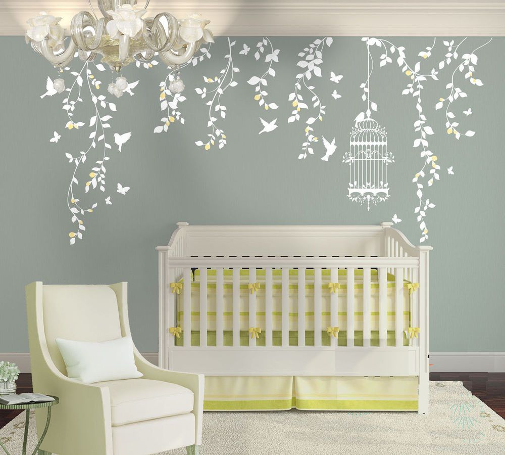Charming Wall Stickers Custom Vine Birdcage Butterfly Large Kids Nursery Home Vinyl  Decal | Home U0026 Garden