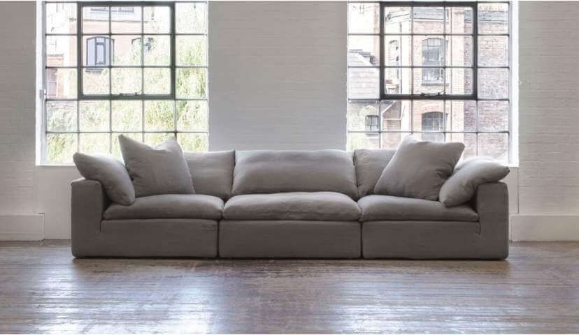 Feather Extra Deep 5 Seater Sofa In Grey Linen Fabric Sofa