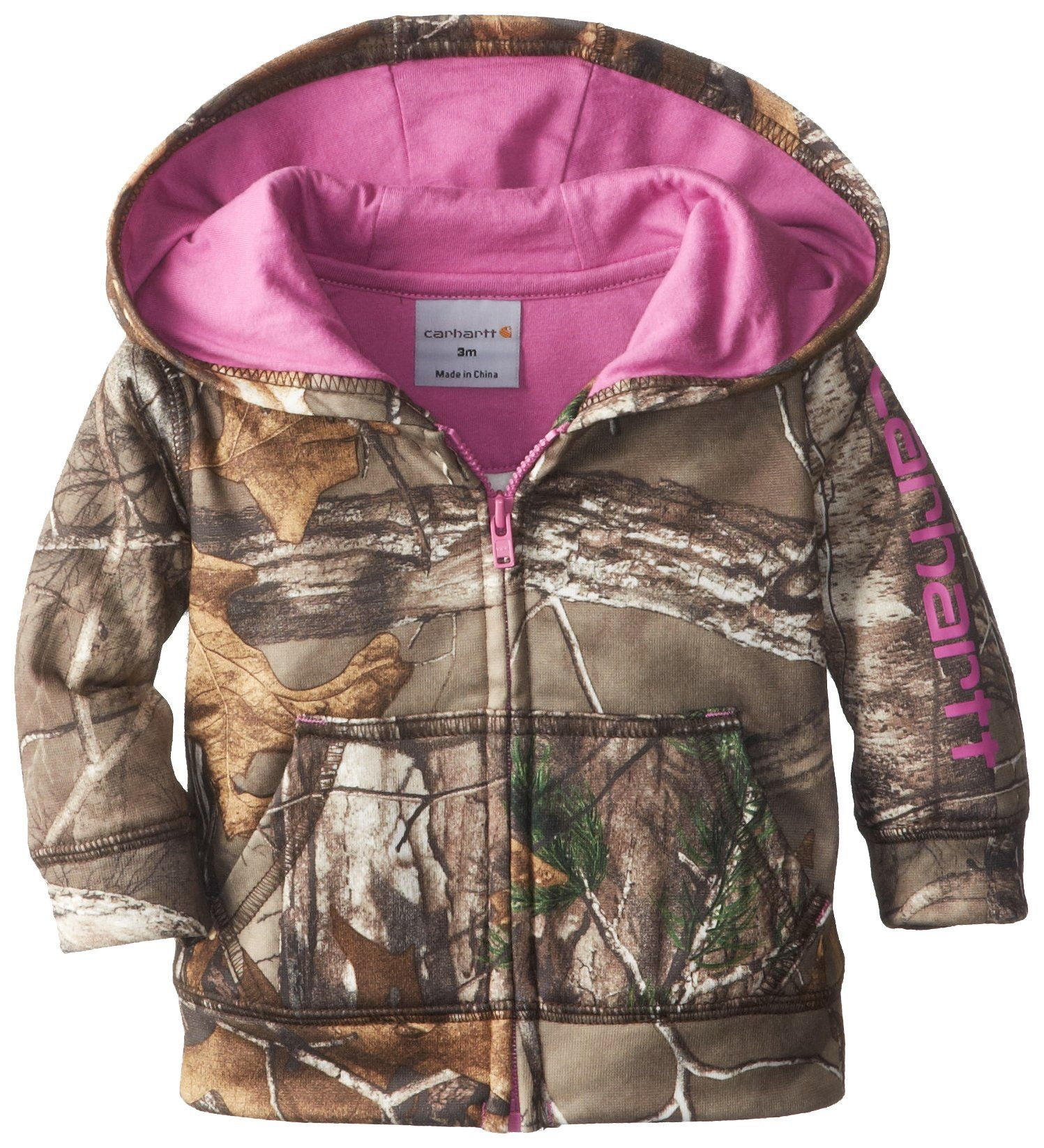 258b340ec Carhartt Baby-Girls Infant Camo Fleece Zip Front Sweatshirt, Realtree Xtra,  9 Months