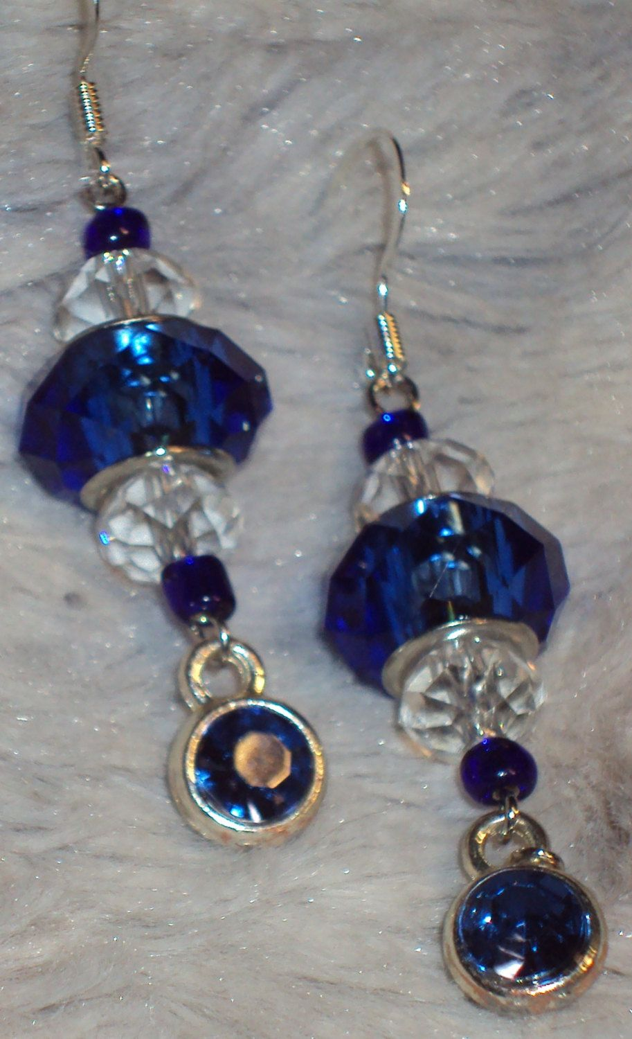 Royal Blue Glass Faceted Rhondelle with Clear Faceted Glass and Drop Royal Blue Rhinestone Earrings Handcrafted by JewelryByTracyO on Etsy