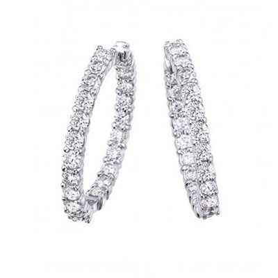 Roberto Coin Perfect Diamond Hoops 18K White Gold Diamond Inside Out Hoops