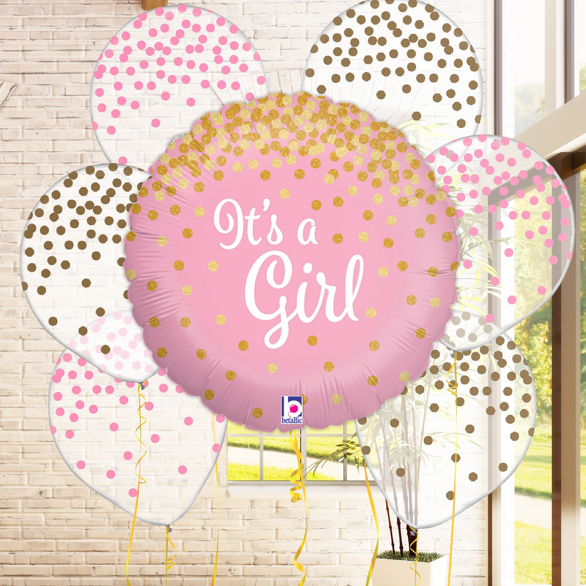 It s a Girl Pink and Gold Confetti Balloon Bundle