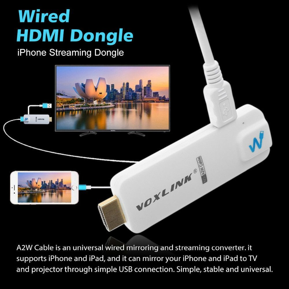 VOXLINK A2W Cable TV Stick HDMI Display Dongle 1080P