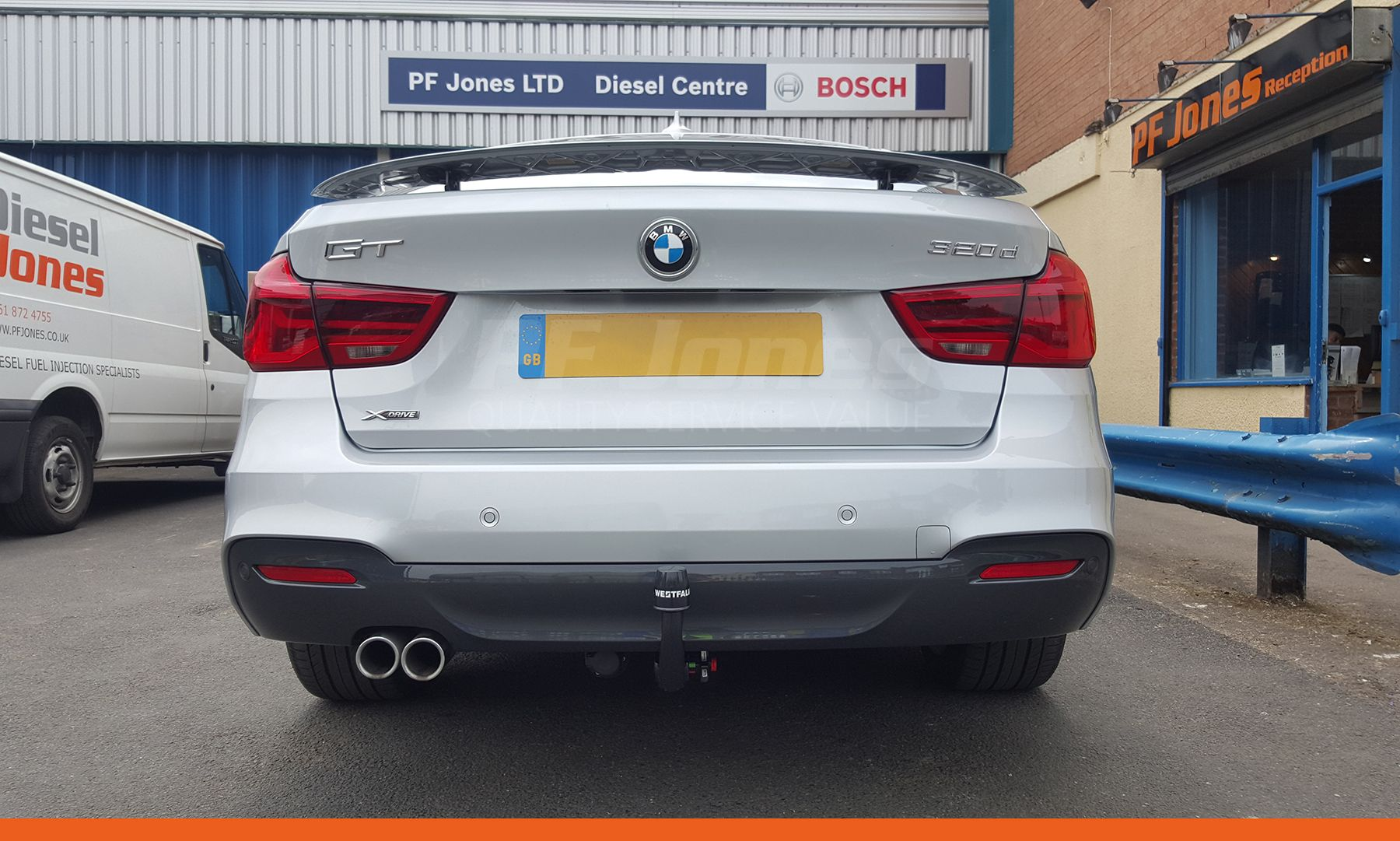 Bmw 3 series gt 2017 fitted with a westfalia detachable swan neck towbar