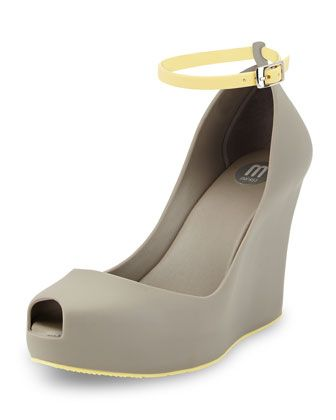 9bd56c51ab Patchouli Peep-Toe Jelly Wedge, Gray/Yellow by Melissa Shoes at Neiman  Marcus Last Call.