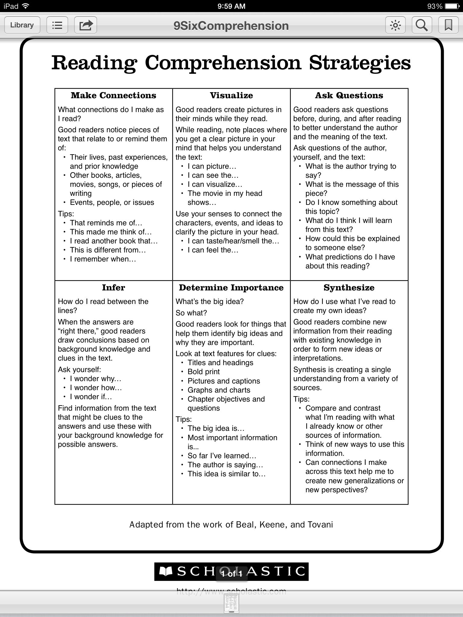 Comprehension Strategies Resource Http Teacher Scholastic Com Lessonplans Pdf Reading Comprehension Teaching Comprehension Reading Comprehension Strategies Reading comprehension objectives for