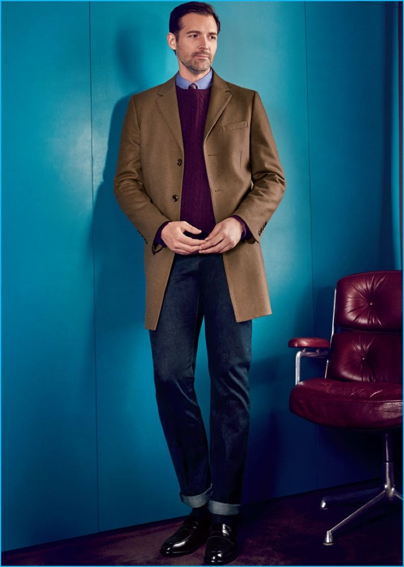 db83f6e2c00 Patrick Grant pictured in a single-breasted brown coat with denim jeans  from Hammond & Co. by Patrick Grant's fall-winter 2016 collection.