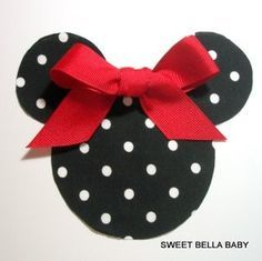 DIY Black with White polka dot Minnie Mouse Applique with Red Grograin Ribbon for you to make your bow – Fabric Iron On NO SEWING