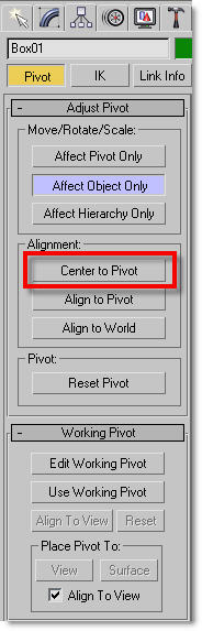 CG Online Tutorials   3ds Max short tips   How to reposition a object's pivot point?