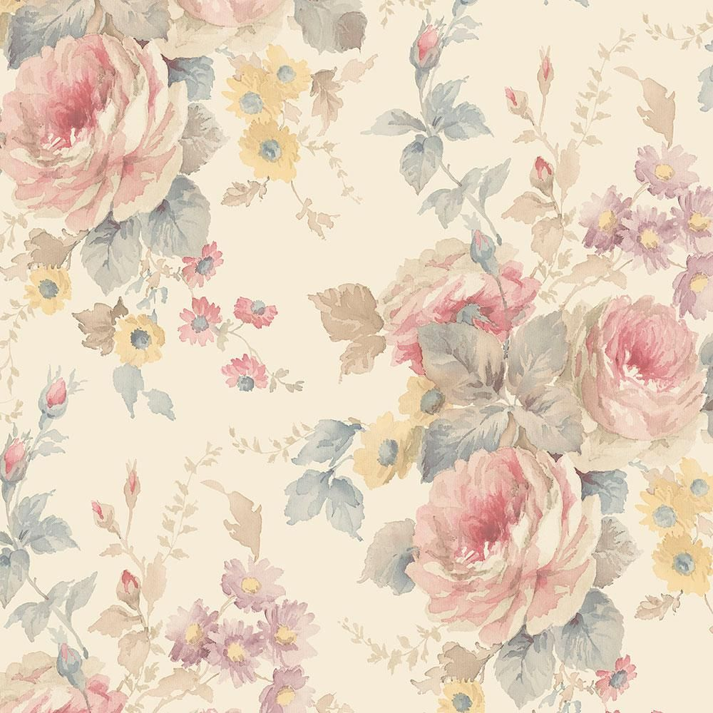 Norwall La Rosa Wallpaper Cream Pink Blue Vintage Floral