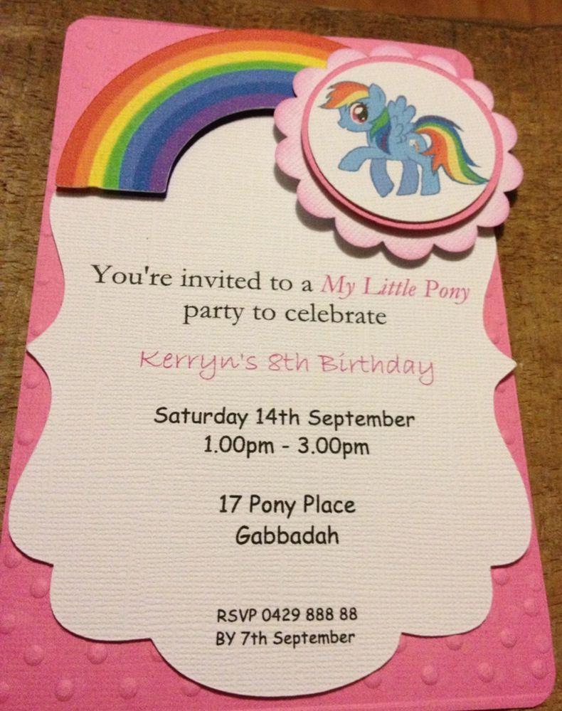 my little pony handmade invitations - Google Search | Party Time ...