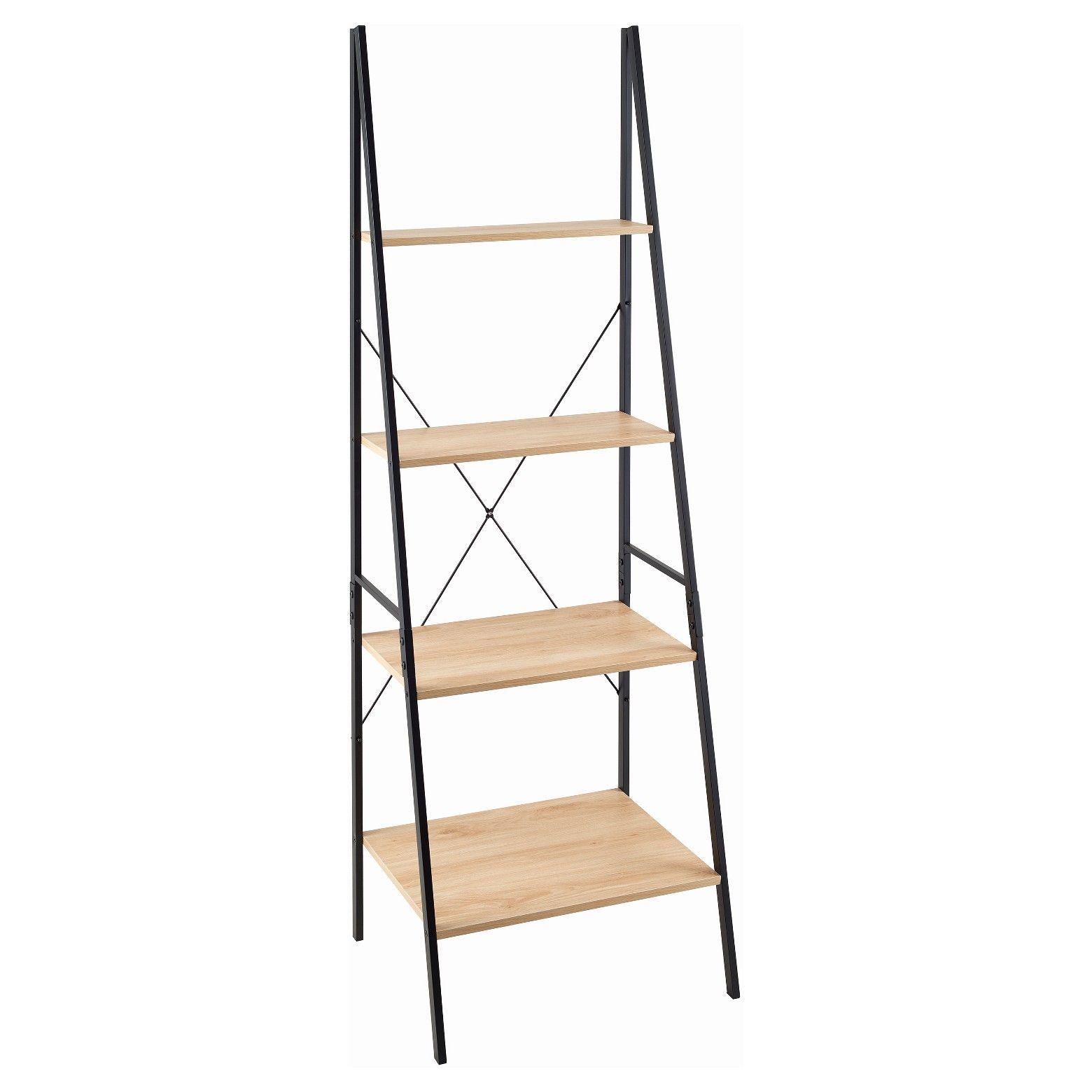 Ladder bookshelf mixed material natural closetmaid light