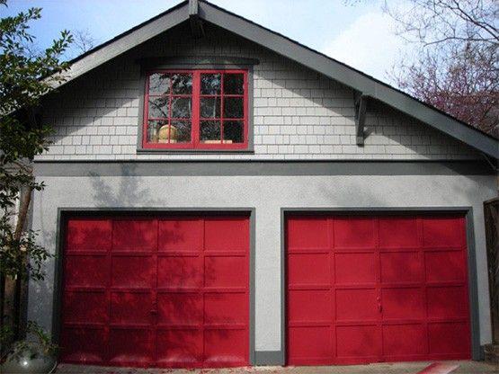 Red Garage Door Grey House Google Search Red Garage