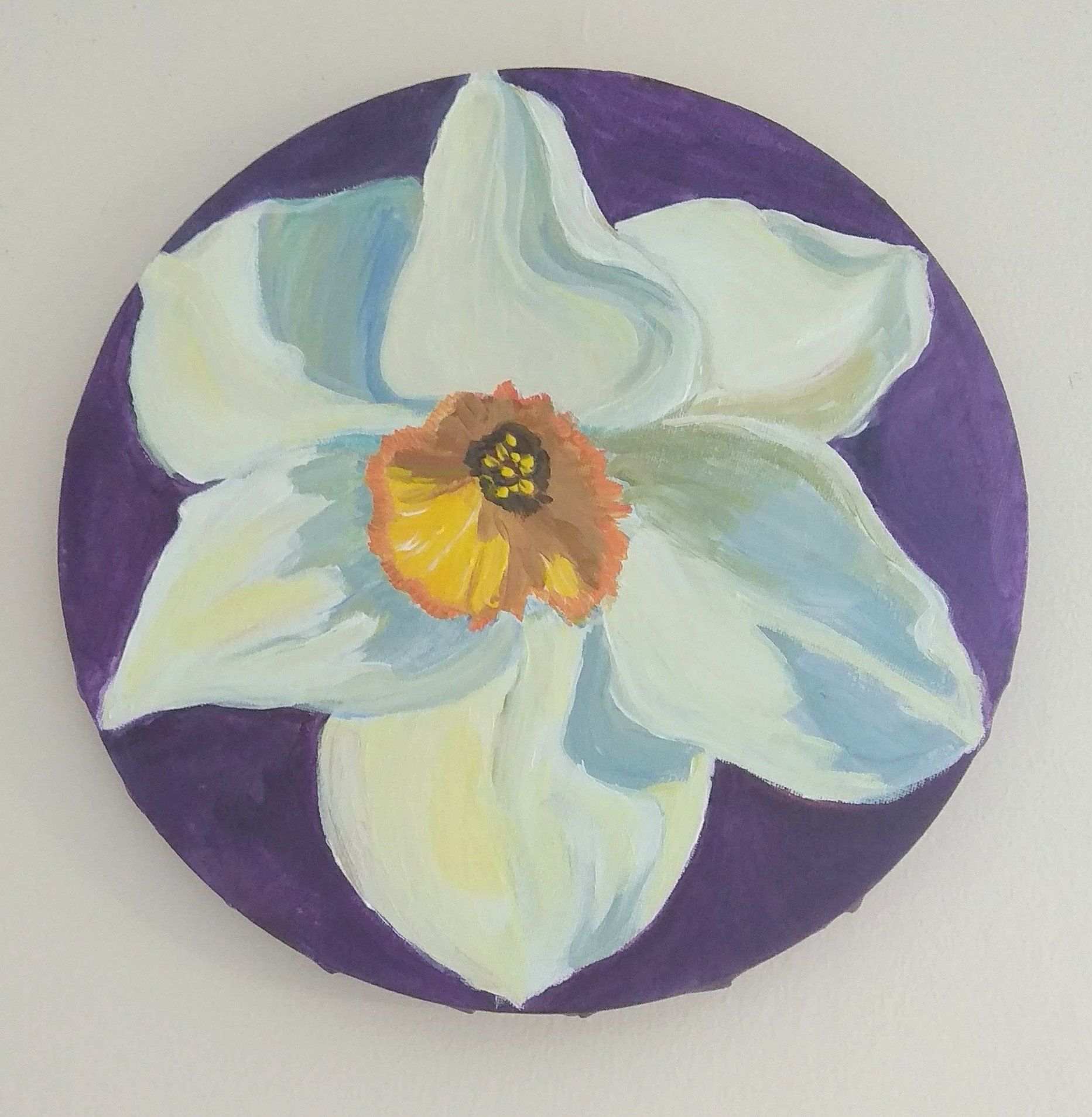 White Daffodil Painting Round Canvas Daffodil White Flower
