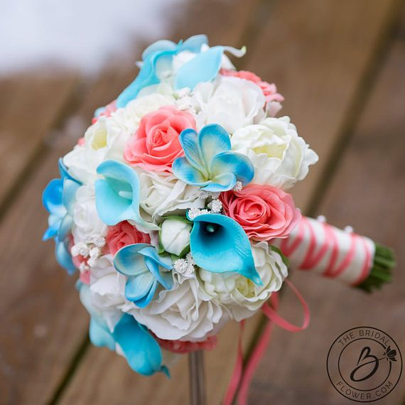 Peony Wedding Bouquet Beach Bridal Natural Touch Spring Pink And Blue C