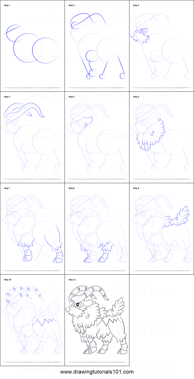 How To Draw Gogoat From Pokemon Printable Step By Step Drawing Sheet Drawingtutorials101 Com