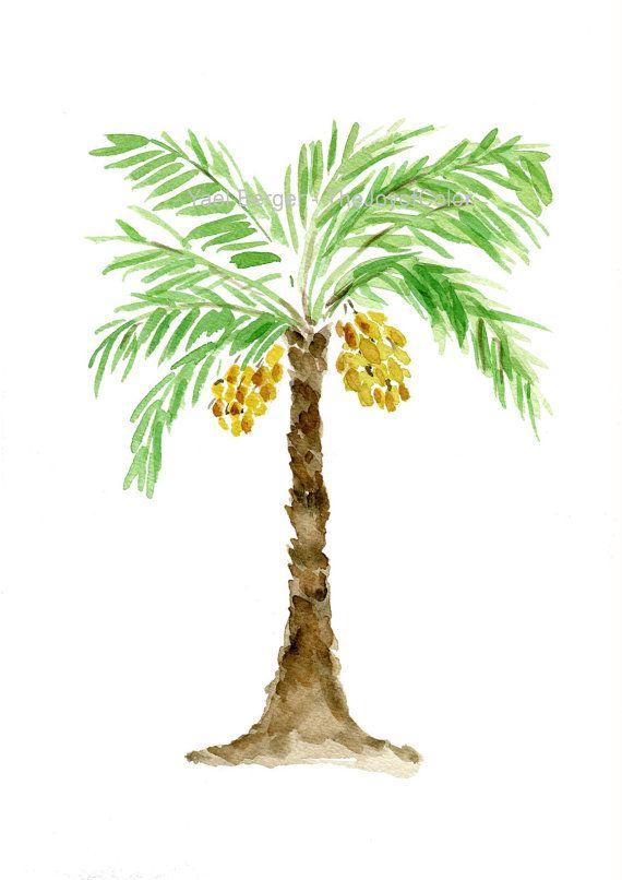 palm tree art print palm tree watercolor print green brown