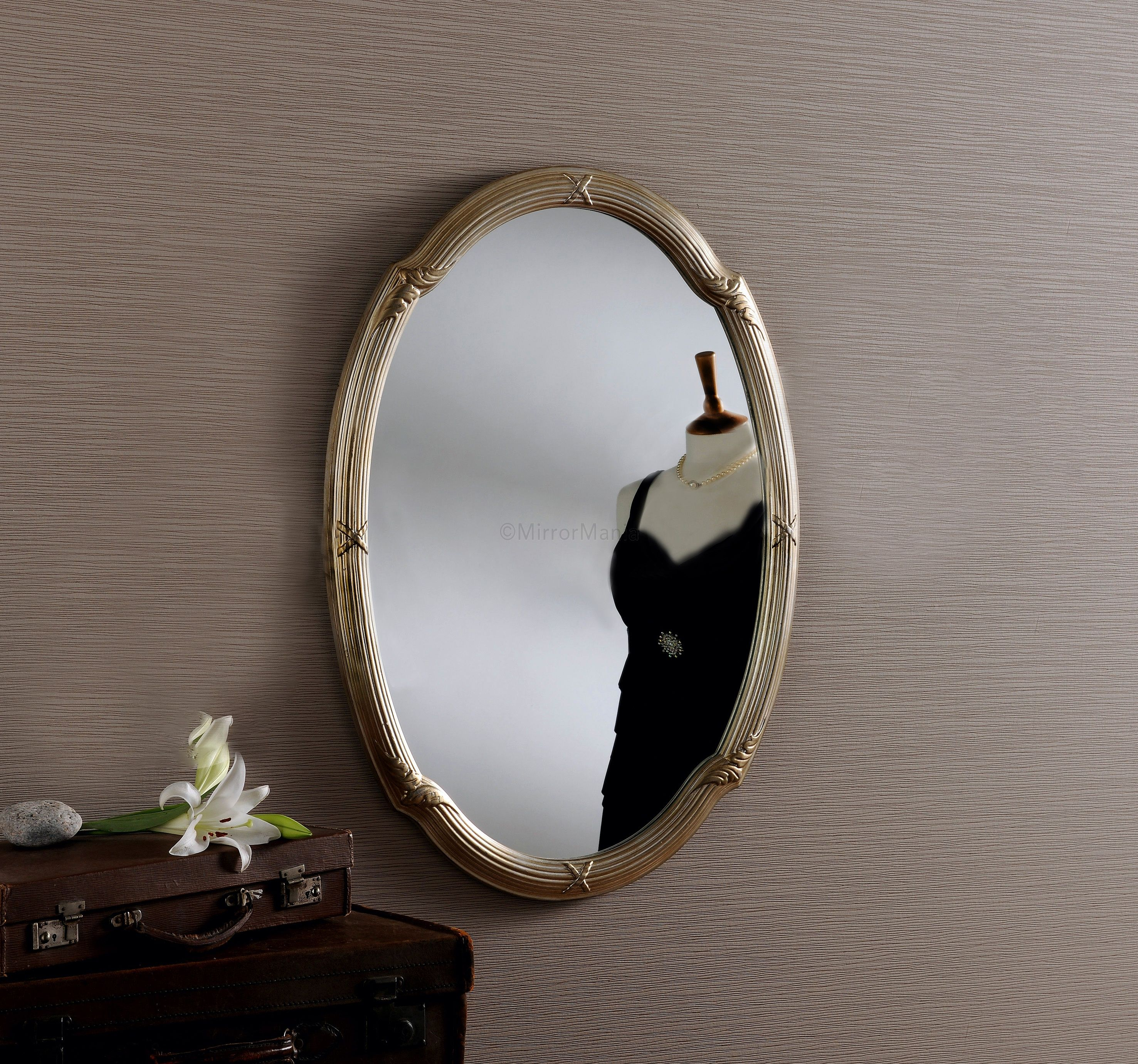 Talbot Antiqued Silver Oval Framed Wall Mirror All Mirrors